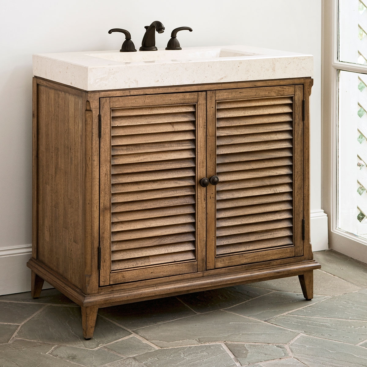 Louvered Door Bathroom Vanity