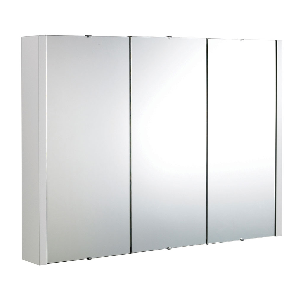 Lux 900mm Gloss White 3 Door Mirrored Bathroom Cabinet