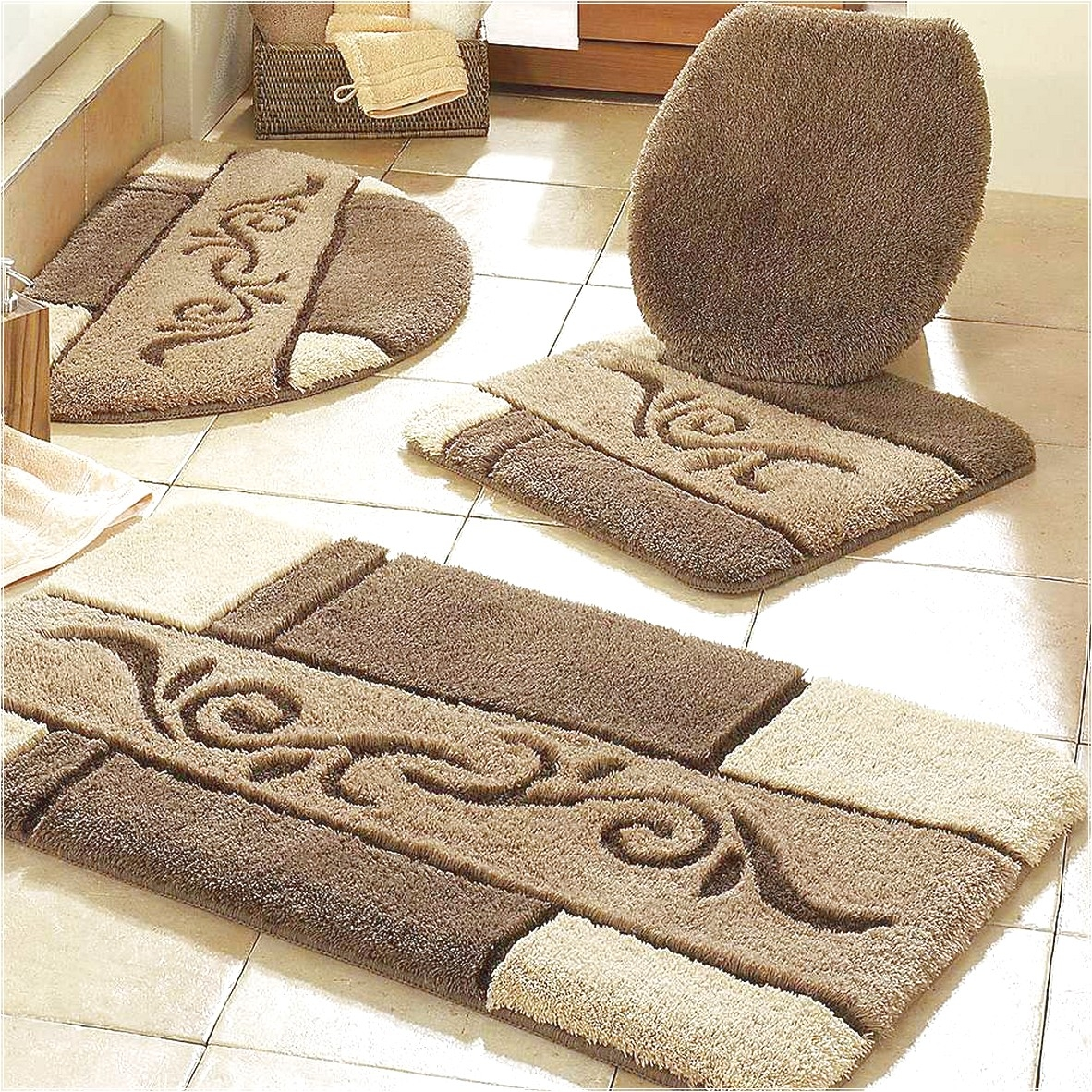 Patterned Bath Mat Sets