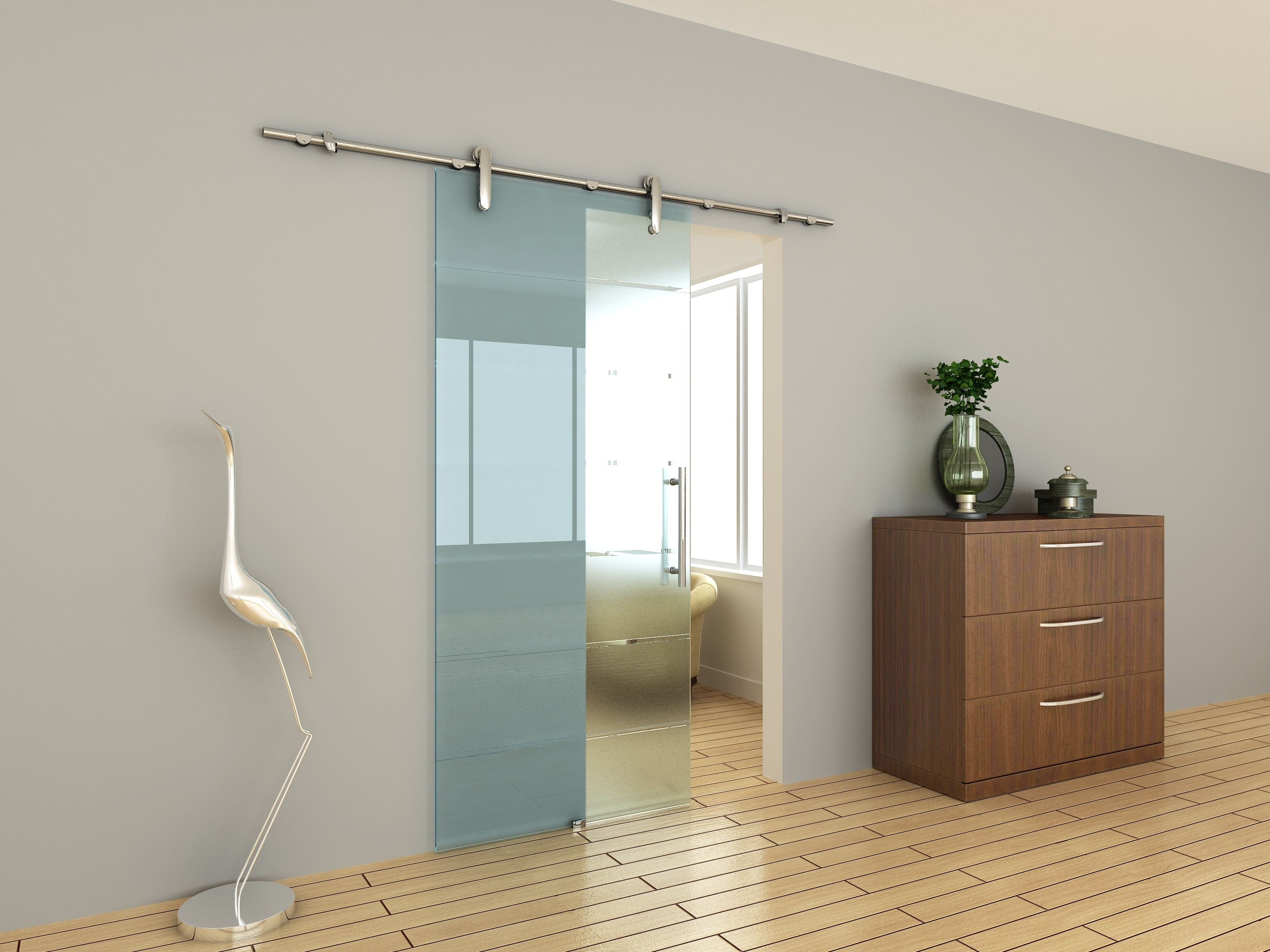 Sliding Glass Bathroom Entry Door