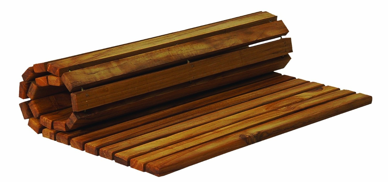 Teak Bath Mats Roll Up