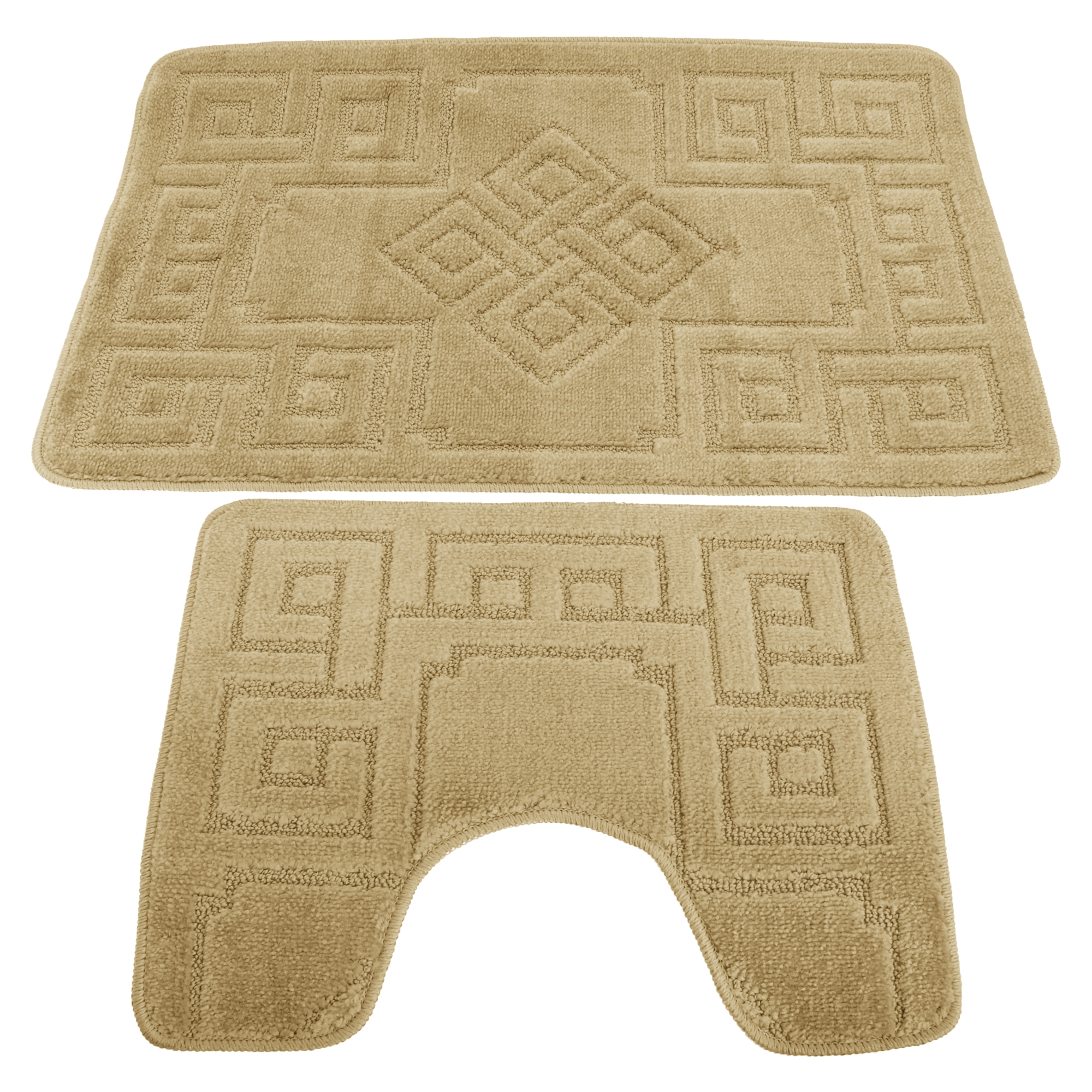 Greek Key Bath And Pedestal Mat Set
