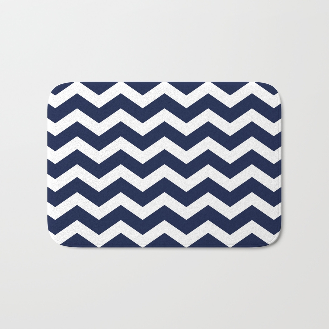 Navy And White Chevron Bath Mat