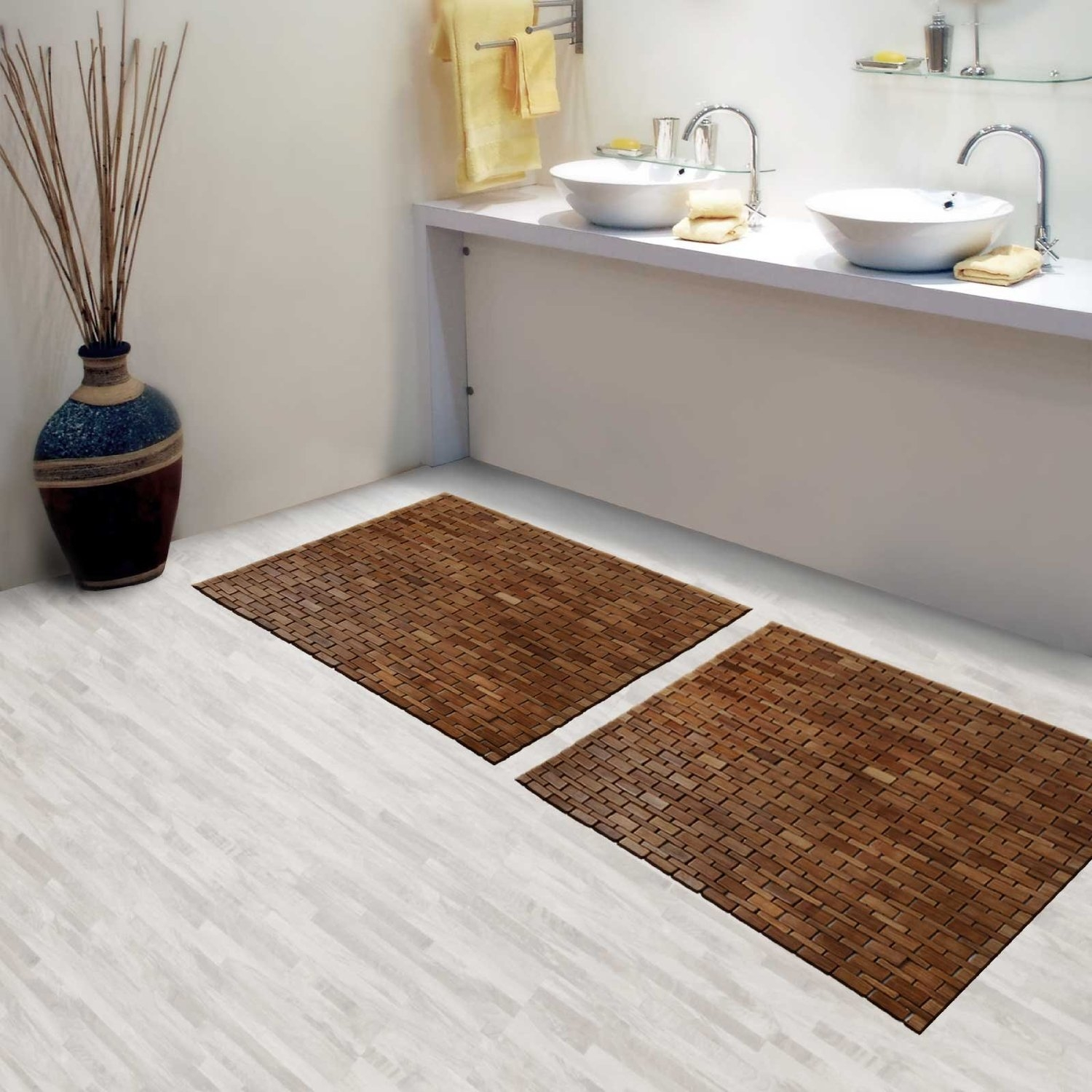 Bamboo Bathroom Mat Set