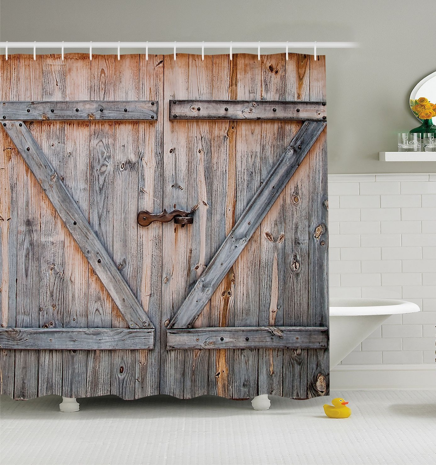Barn Door Shower Curtainrustic barn door shower curtain wood plank farm vintage distressed