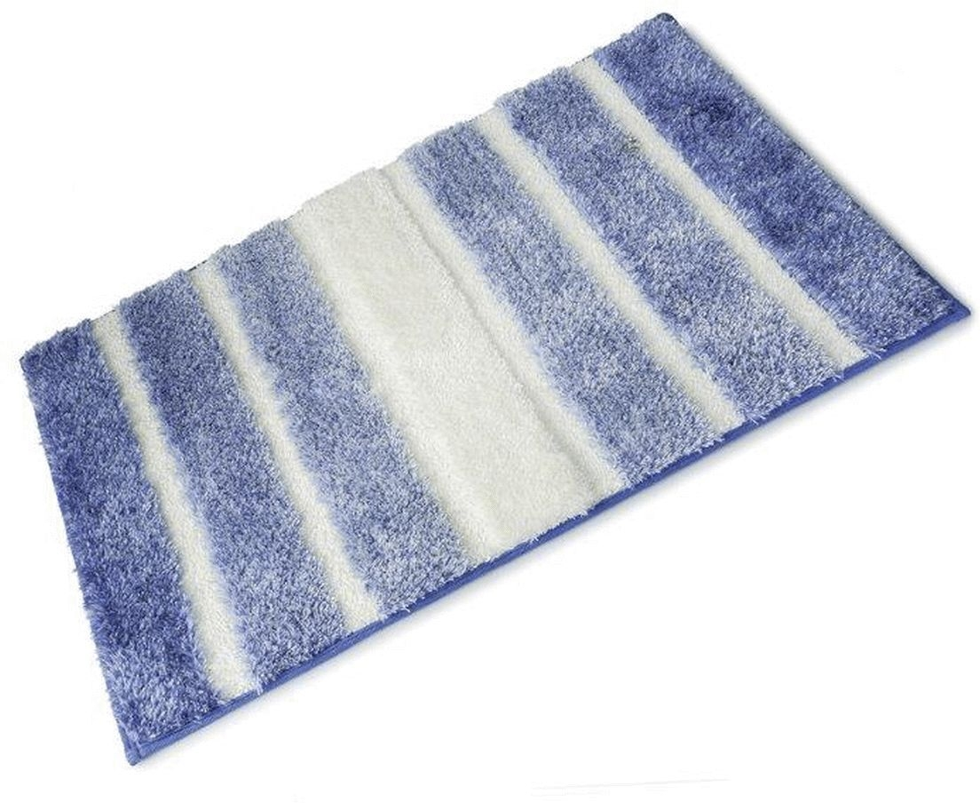 Blue And White Striped Bath Mat