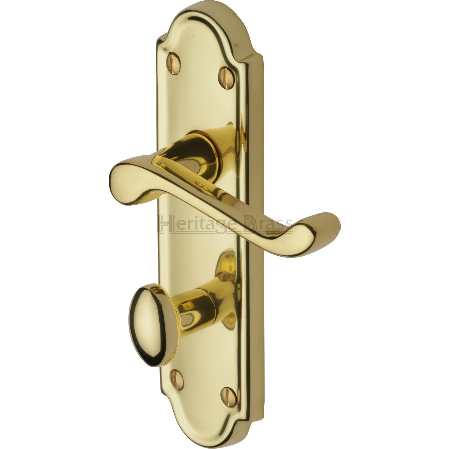 Brass Bathroom Door Handle With Lockheritage brass meridian door handle on bathroom plate polished