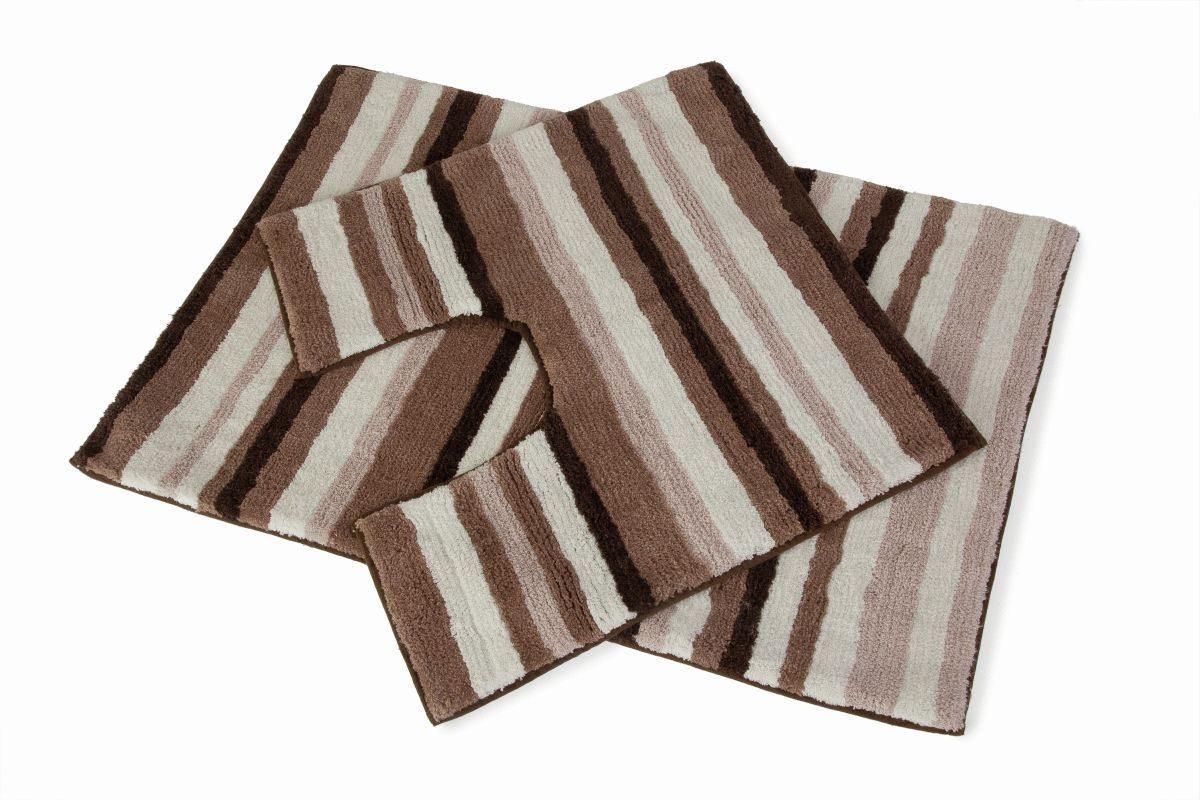 Brown Striped Bath Mats