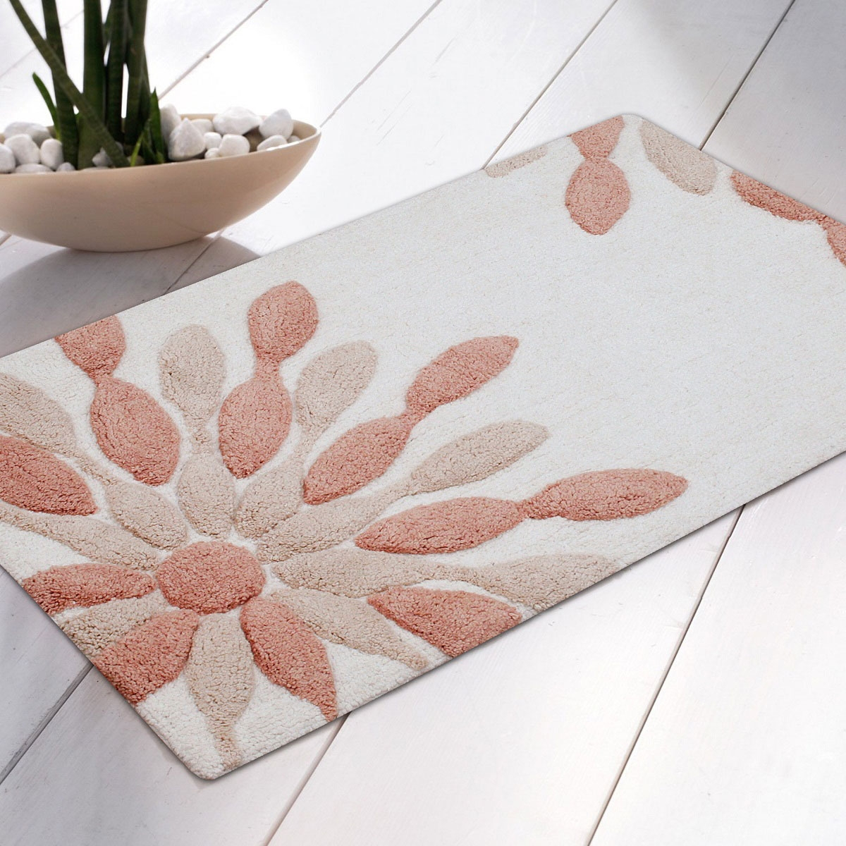 Peach Bathroom Mat Sets