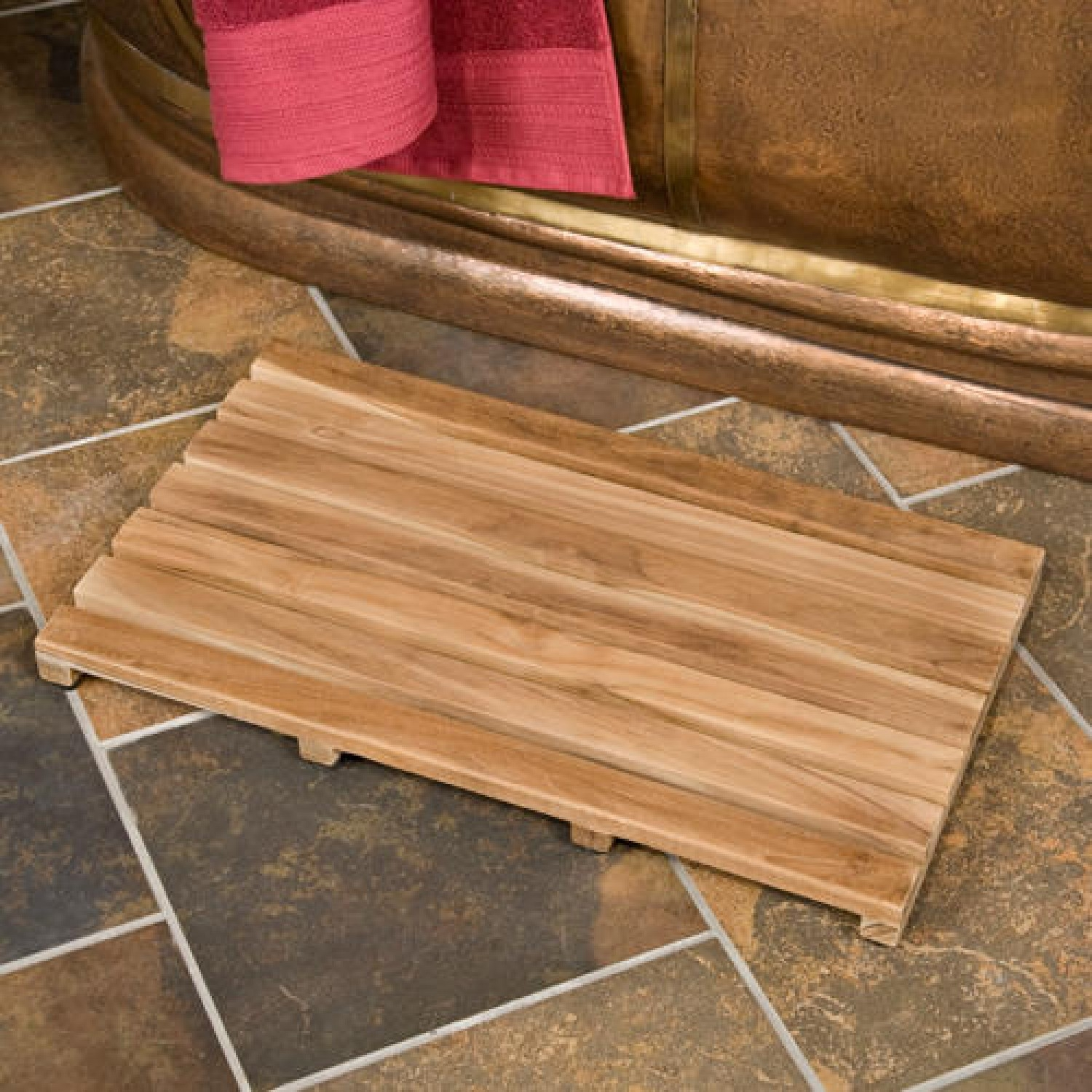 Teak Bath Mat Inside Shower