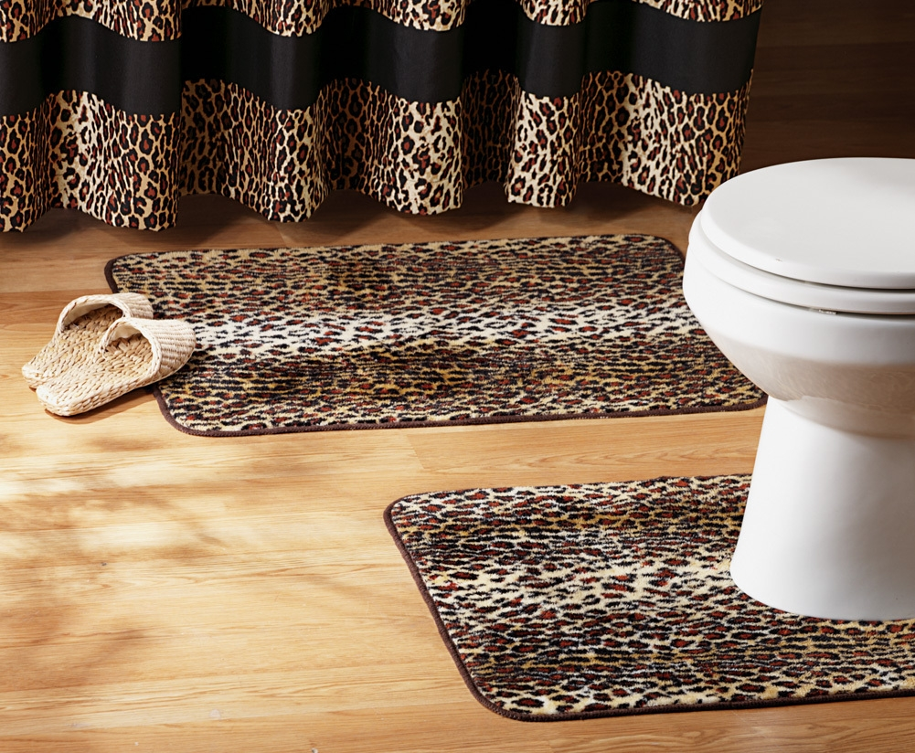 Zebra Print Bath Mat Set