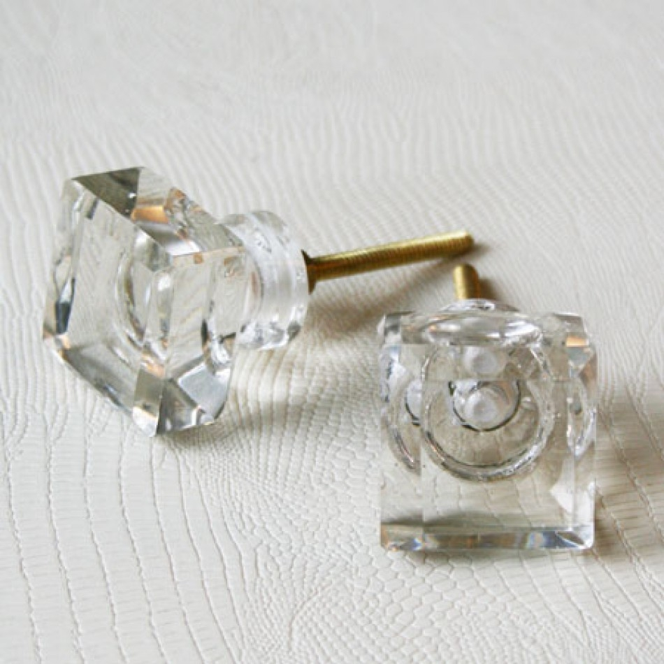 Decorative Glass And Silver Door Knobs