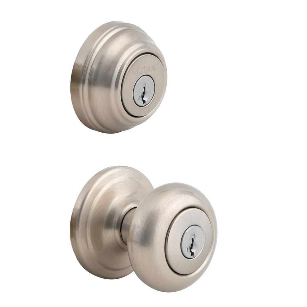 Door Knob And Deadbolt Set Of 3kwikset juno satin nickel exterior entry knob and single cylinder