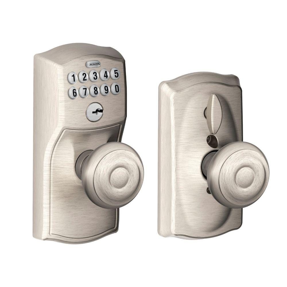 Schlage Door Knob Locks Me Outschlage plymouth single cylinder bright brass keypad entry with