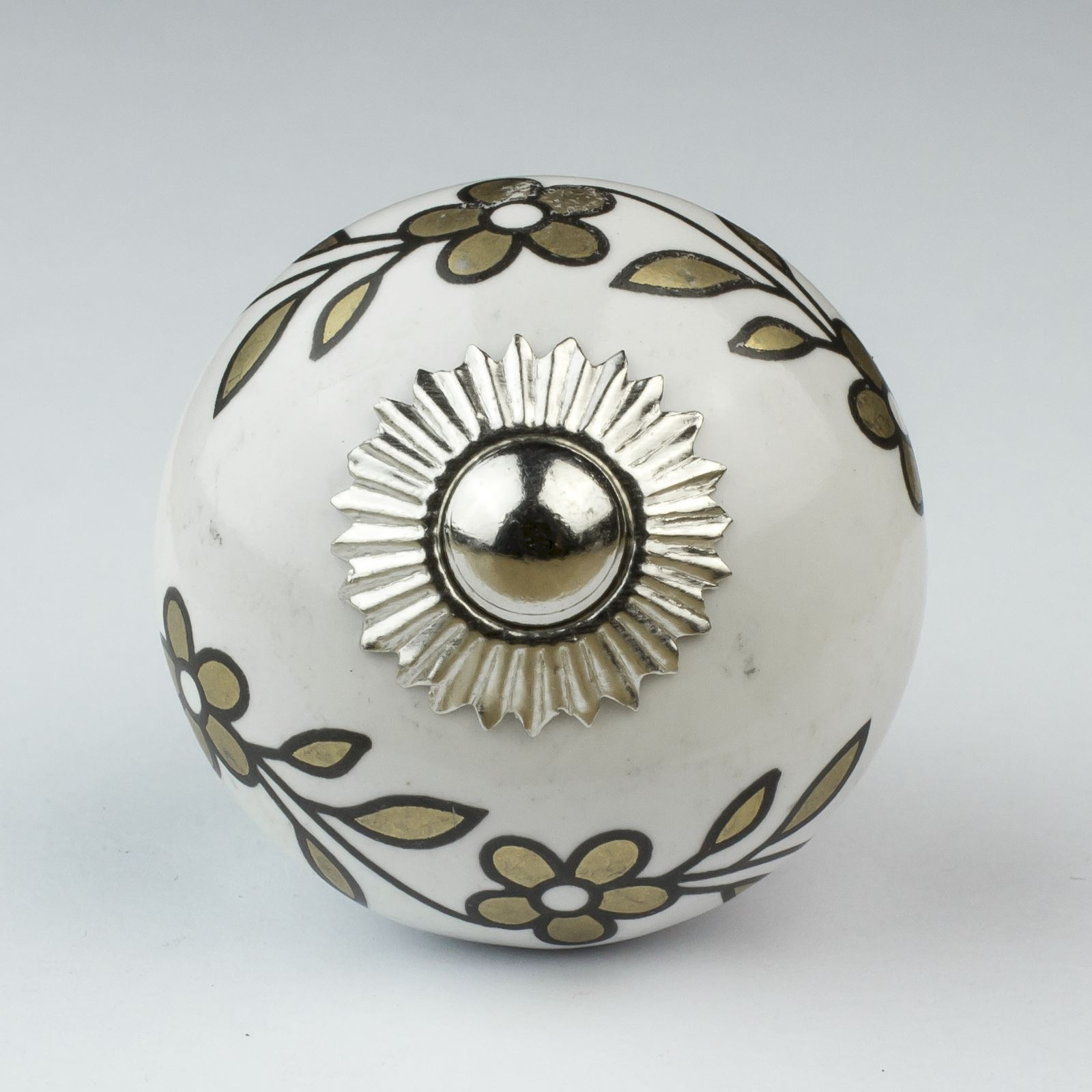 White Floral Door Knobs