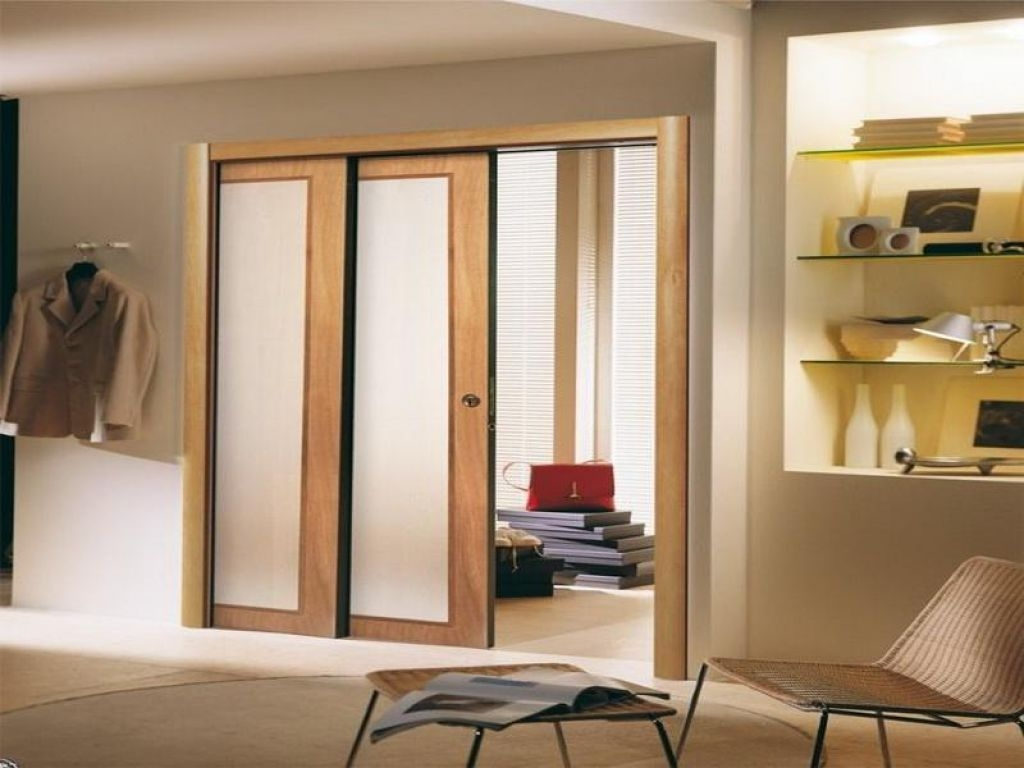 Double Pocket Door With Frosted Gl