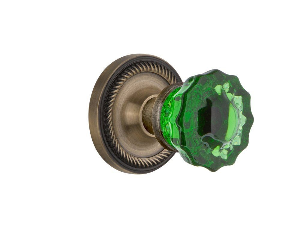 Green Crystal Privacy Door Knob