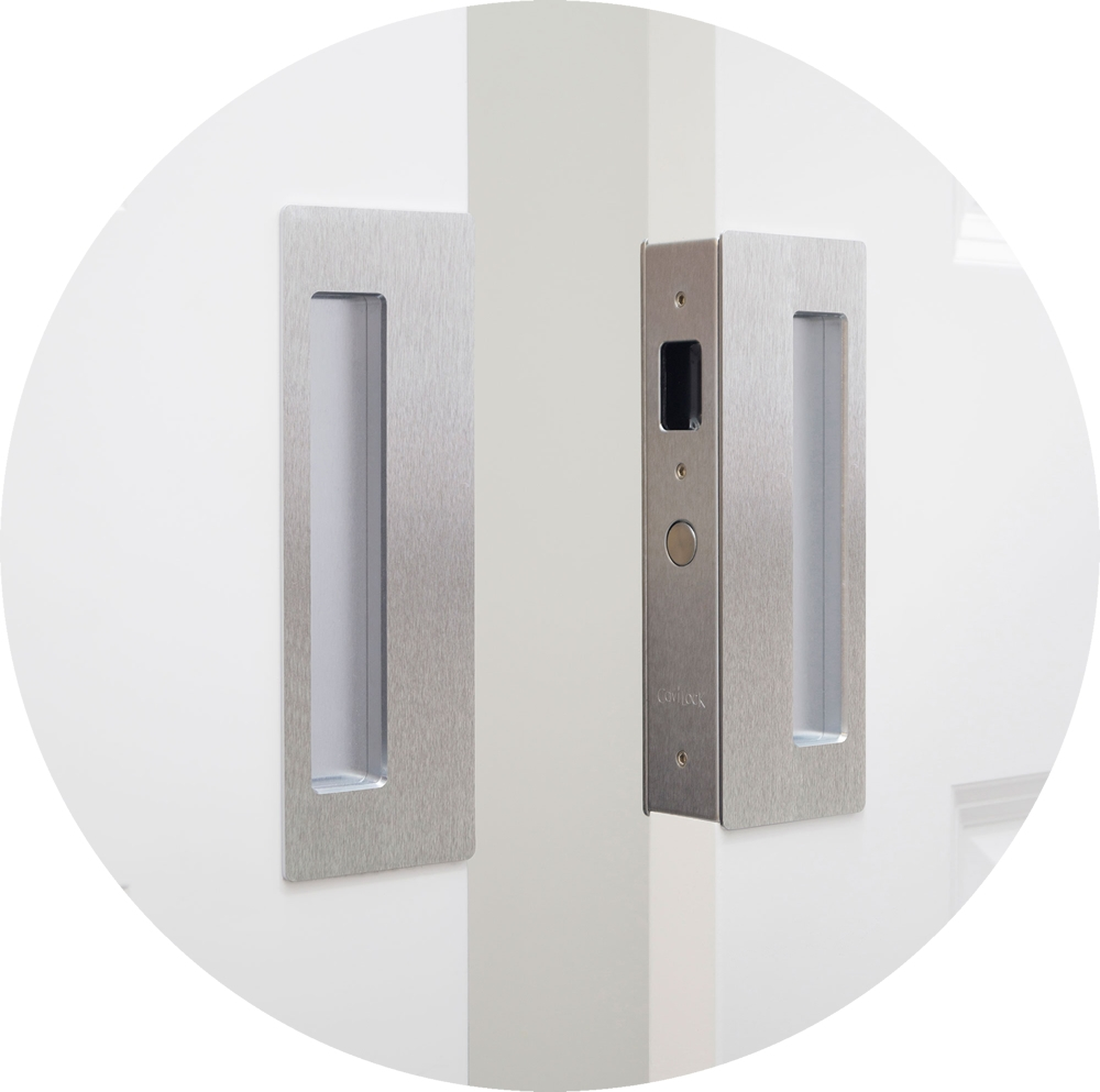 Modern Chrome Pocket Door Hardware