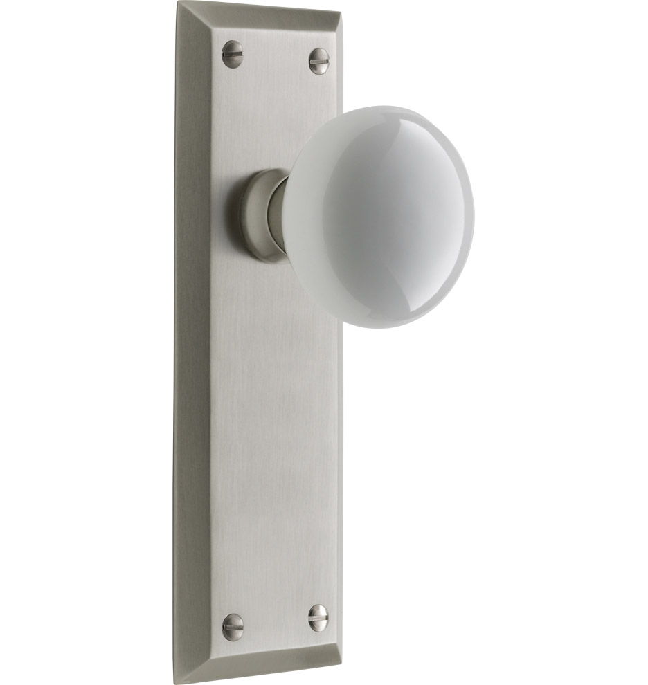 White Door Knob With Lock
