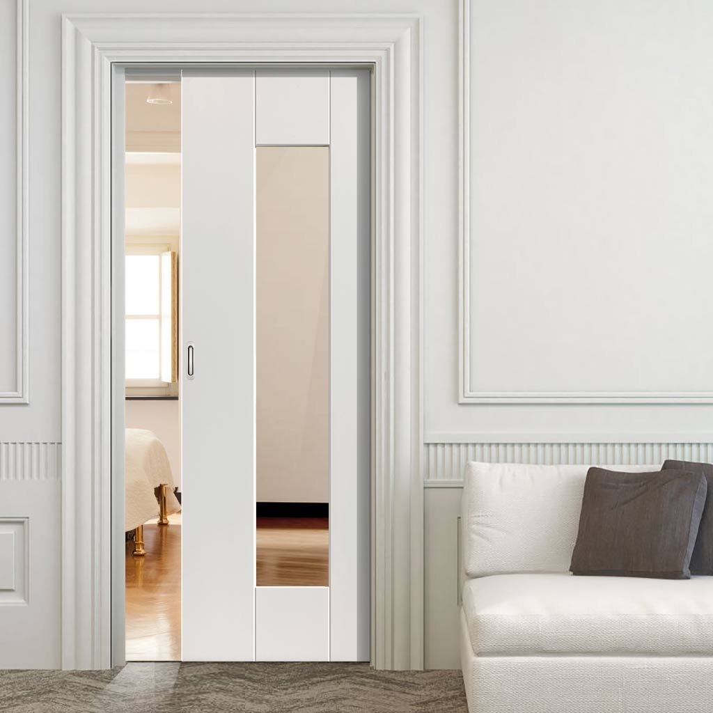 White Glass Pocket Door