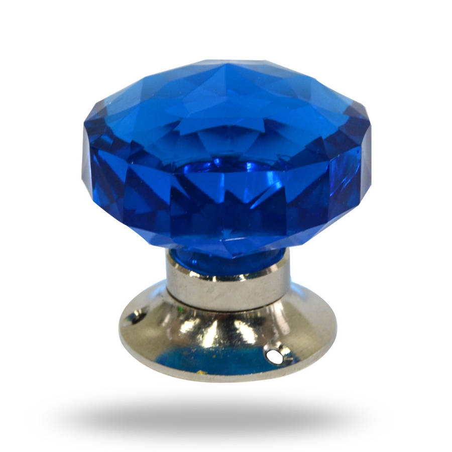 Blue Glass Mortice Door Knob