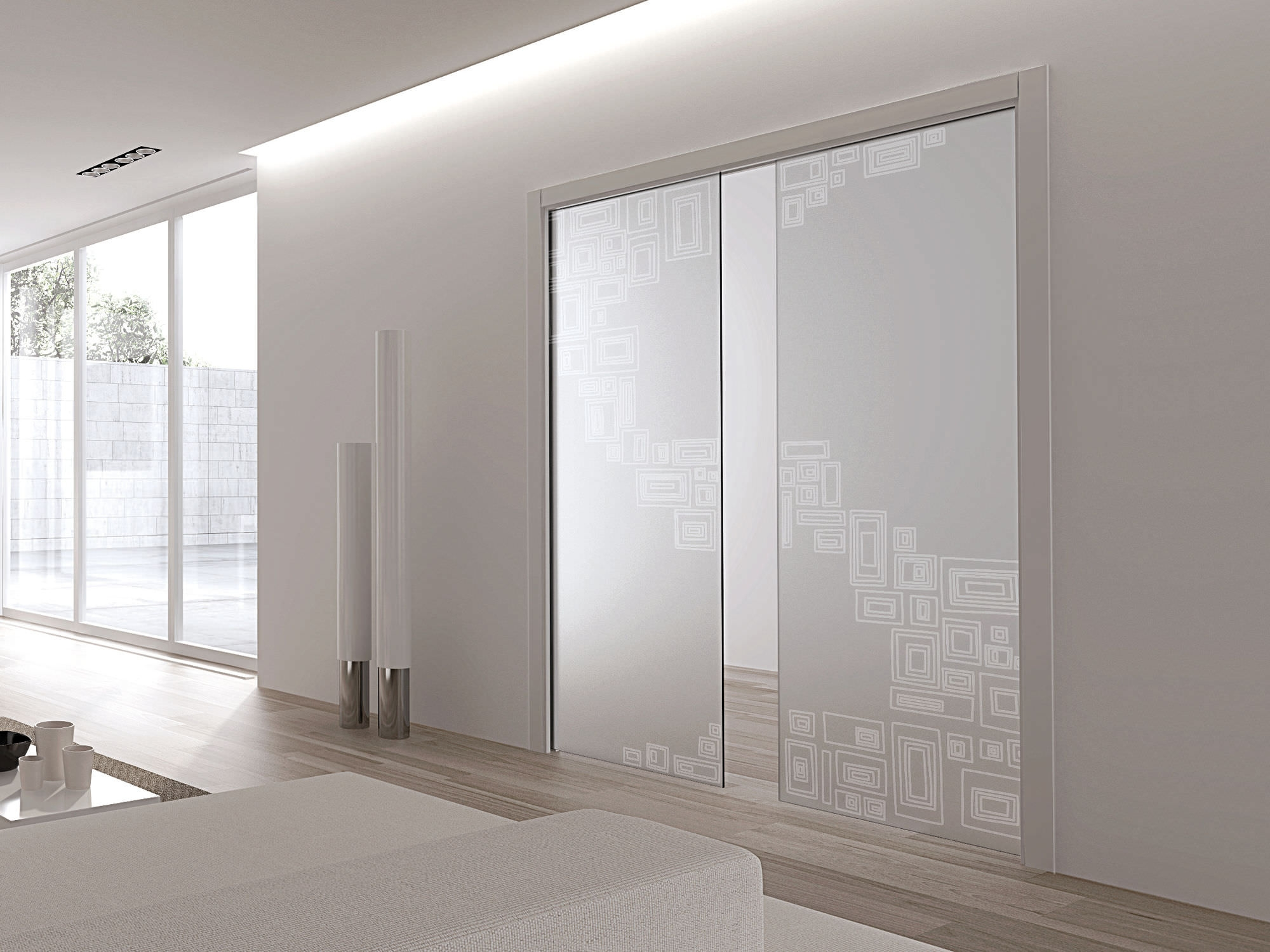 Eclisse Double Glass Pocket Door