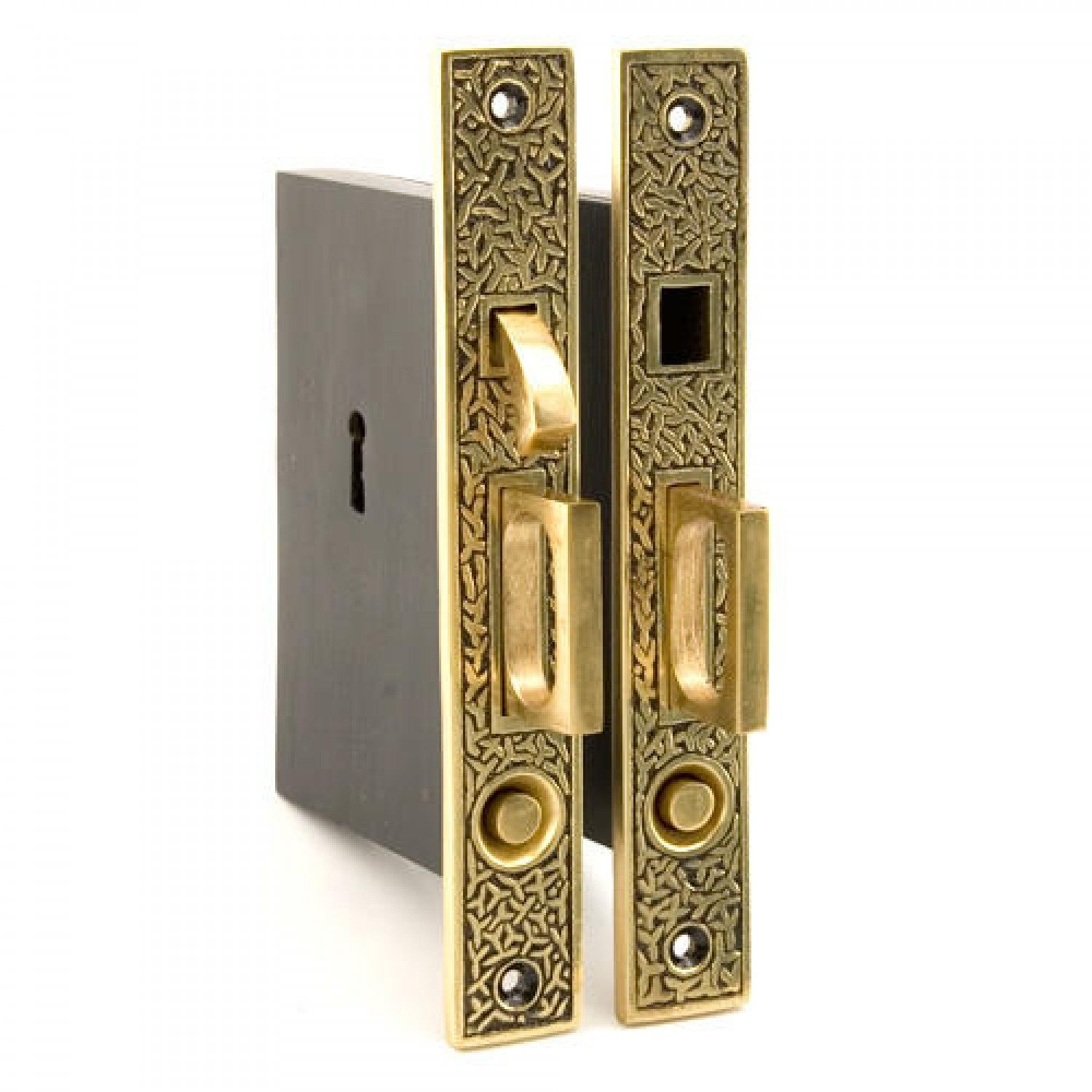 Privacy Pocket Door Mortise Lock Set With Rectangular Pulls rice pattern double pocket door mortise lock privacy blackened 1500 X 1500