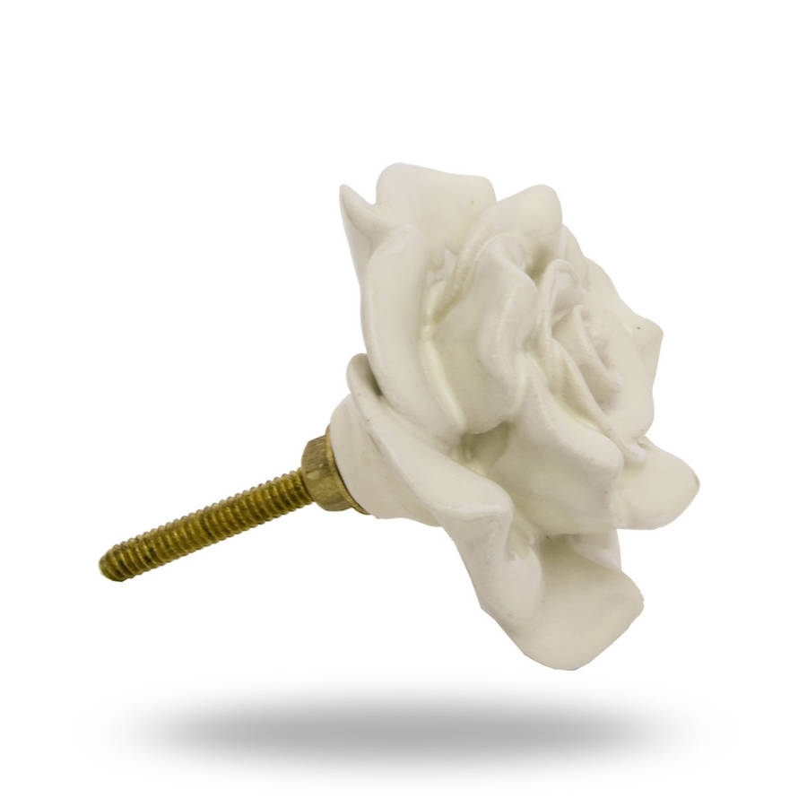 White Flower Door Knob