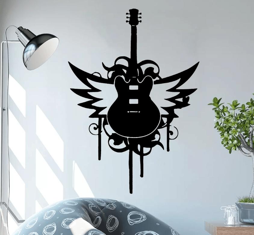 Adesivo De Parede - Guitarra Asas Música