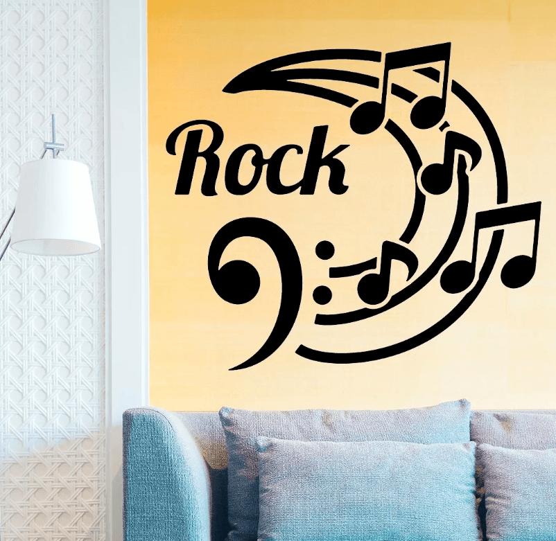 Adesivo De Parede - Rock Com Notas Musicais