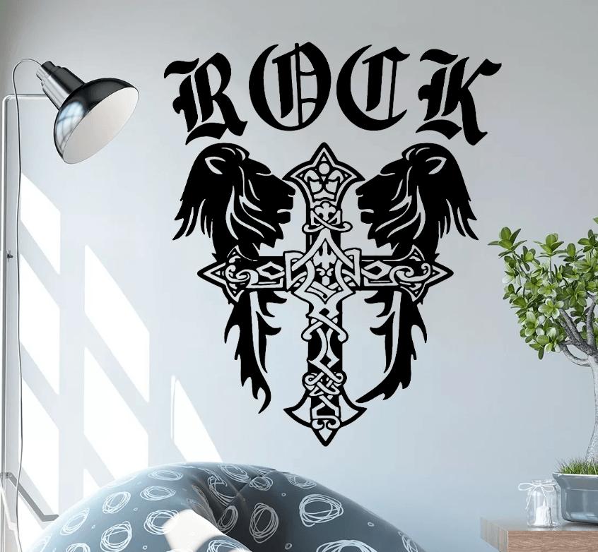Adesivo De Parede - Rock Cruz Leão