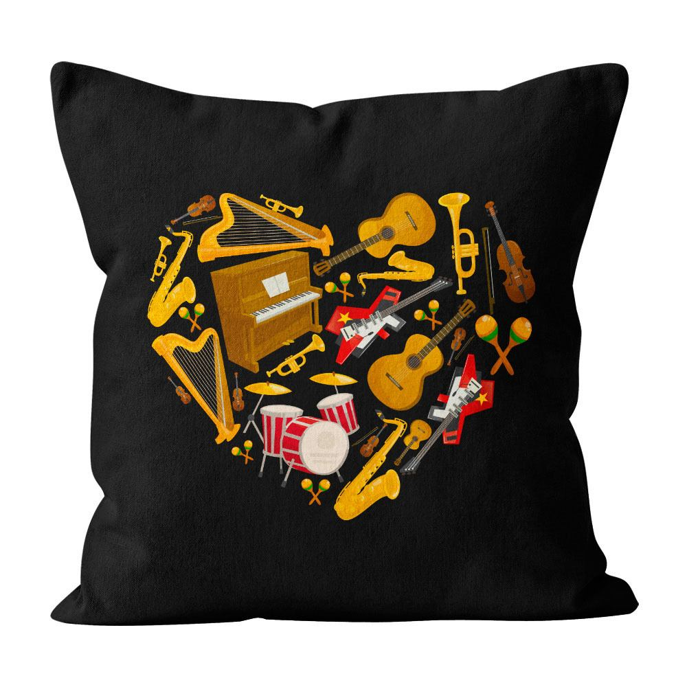 Almofada Pillowshow Amor Música Instrumentos Musicais Lov012