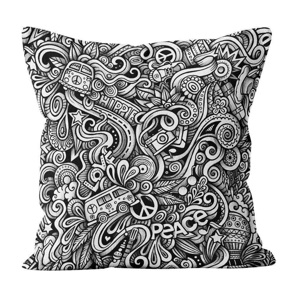 Almofada Pillowshow Waves Rock Hippie Paz E Amor Wav001