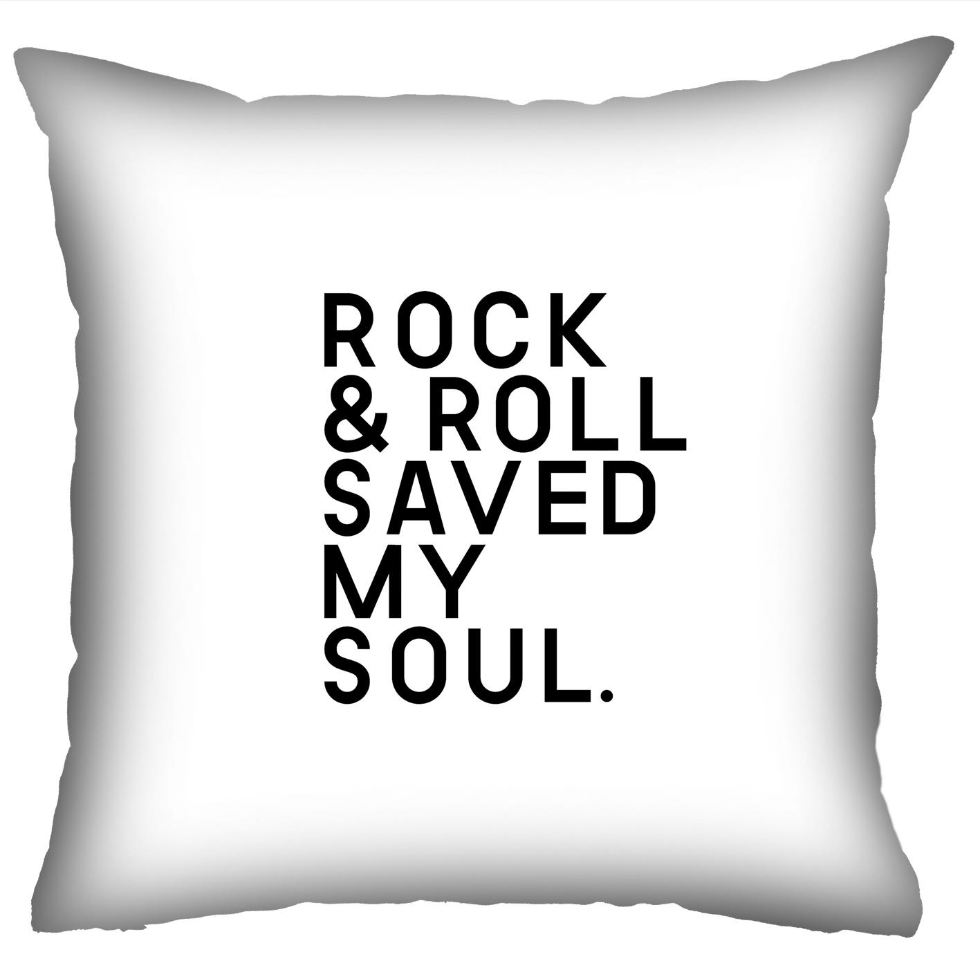Almofada Rock Use - Rock & Roll Saved My Soul (Branca)