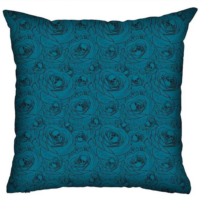 Almofada Rock Use -  Skulls & Roses (Azul)