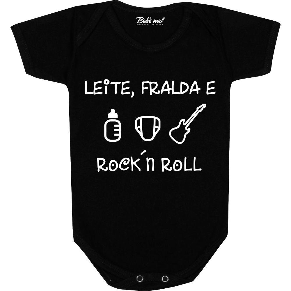 Body Bebê personalizado Leite Fralda e Rock N´Roll