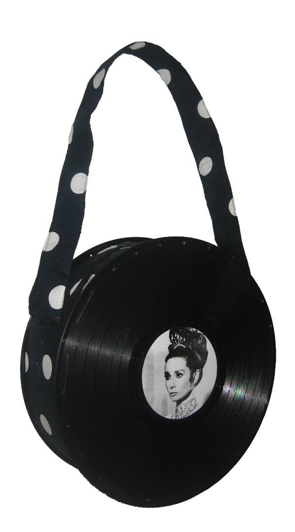 Bolsa Grande Preta com Bolas Audrey Hepburn