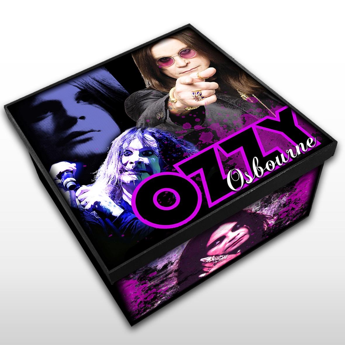 Caixa Organizadora em Madeira MDF Tamanho Médio Mr. Rock Ozzy Osbourne