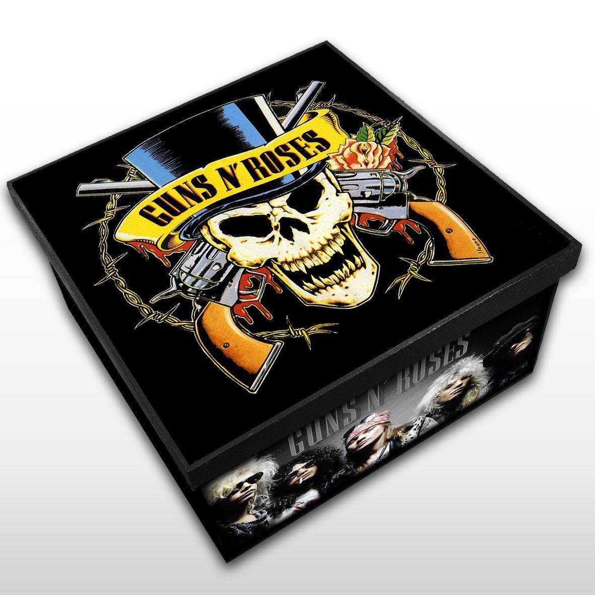 Guns n' Roses - Caixa Organizadora em Madeira MDF Tamanho Médio Mr. Rock