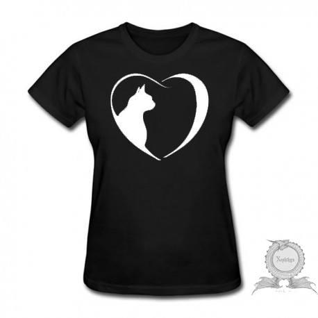 Camiseta Baby Look Feminina Gato Com Coração Preta