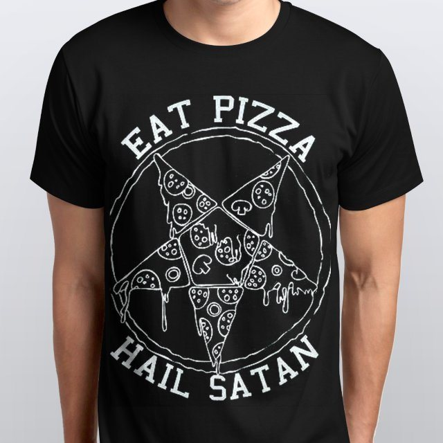 Camiseta Masculina Eat Pizza Hail Satan Preta