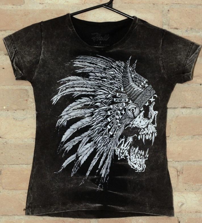Camiseta Feminina Black White Indian - Hail Custom Wear