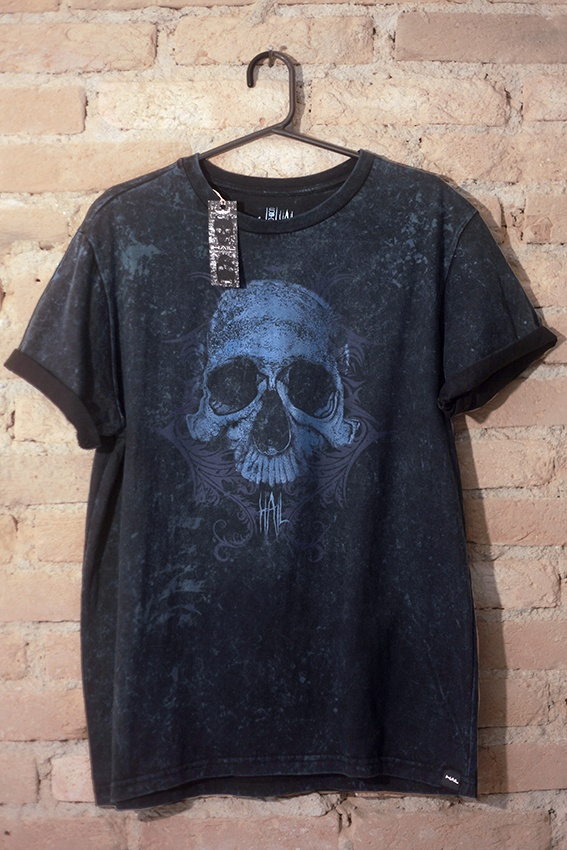 Camiseta Masculina Skull Tribal Blue Version - Hail Custom Wear