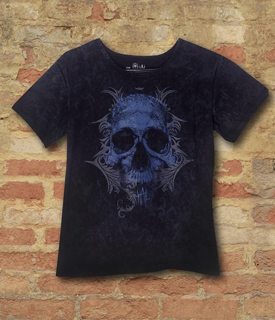 Camiseta Feminina Skull Tribal Blue Version - Hail Custom Wear
