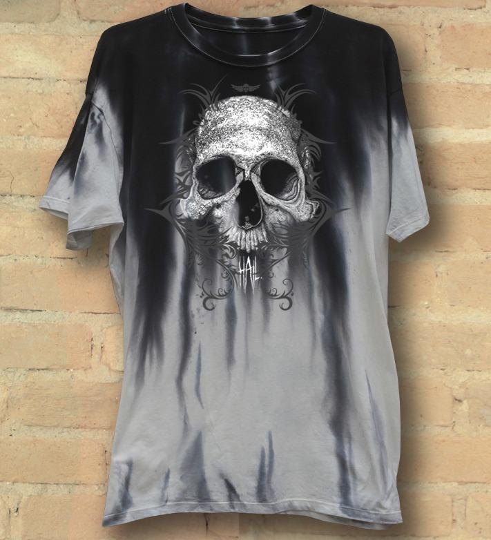 Camiseta Masculina Skull Tribal Grey Version - Hail Custom Wear