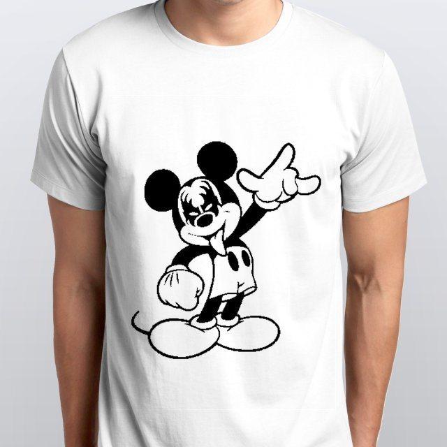 Camiseta Masculina Mickey Kiss Branca