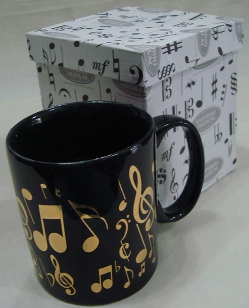 Caneca Preta com Notas Musicais Dourado