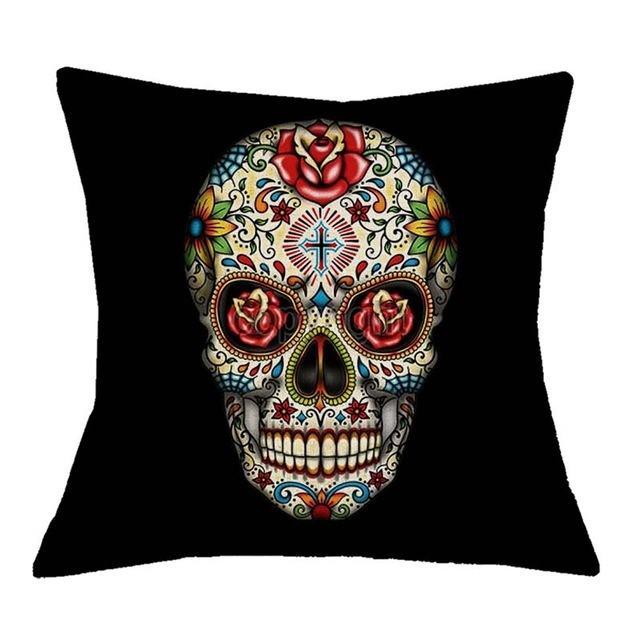 Capa Para Almofada Skull Colors