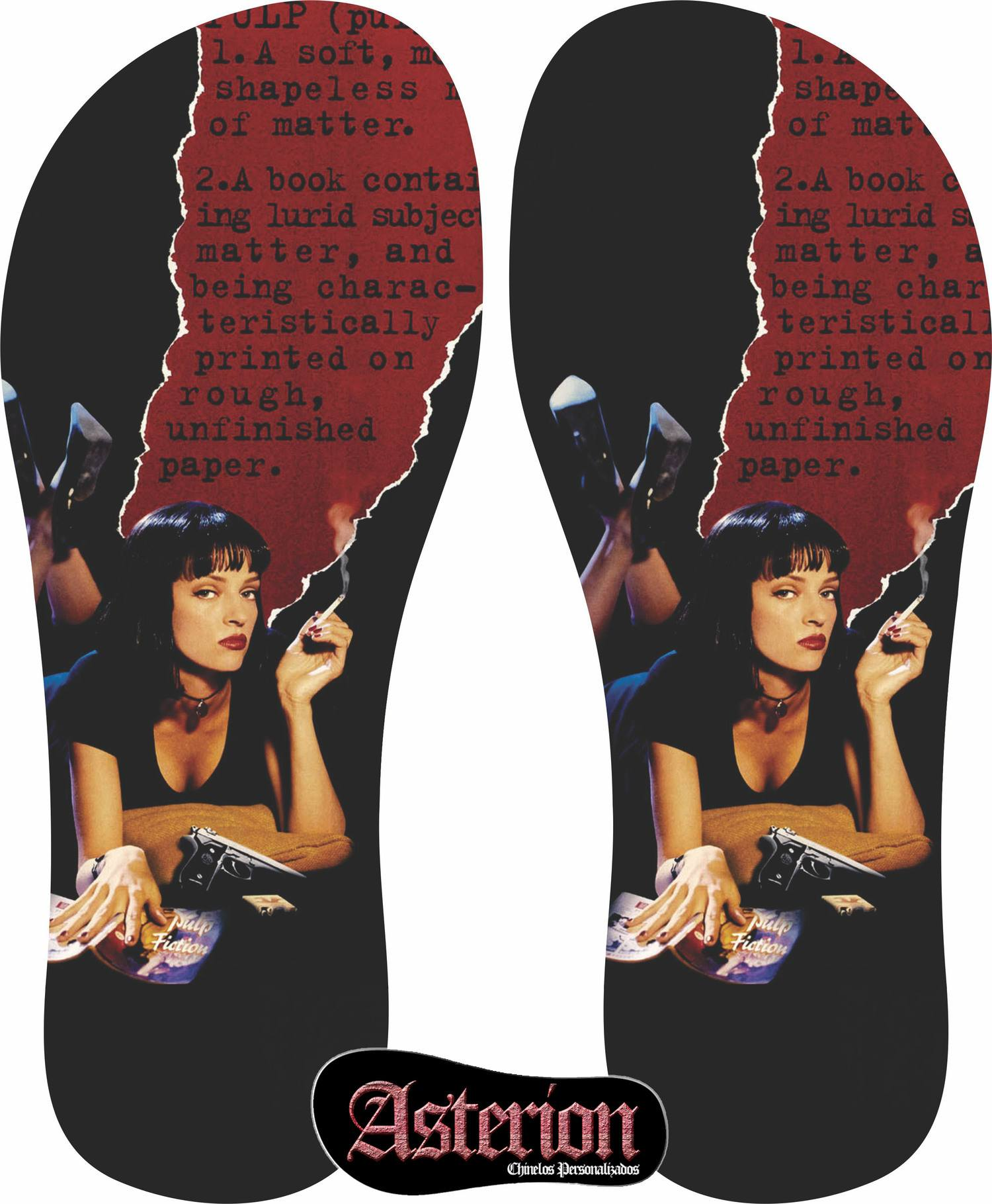 f73500513 Chinelo Pulp Fiction – Asterion Chinelos Personalizados