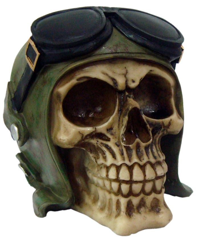 Crânio Caveira Skull Aviador Óculos Grande Decorativo Resina